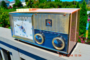 SOLD! - Nov 26, 2014 - PRINCESS Pink Retro Jetsons 1962 Bulova Model 180 Tube AM Clock Radio WORKS! , Vintage Radio - Bulova, Retro Radio Farm  - 3