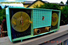 SOLD! - Sept. 29, 2014 - STUNNING AQUA BLUE Retro Jetsons 1957 Magnavox C5 Tube AM Clock Radio WORKS! , Vintage Radio - Magnavox, Retro Radio Farm  - 2