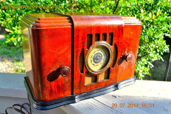 SOLD! - Sept 17, 2015 - BEAUTIFUL Wood Art Deco Retro 1930's or 1940's Western Air Patrol AM Tube Radio Works! Wow! , Vintage Radio - Western Air Patrol, Retro Radio Farm  - 4