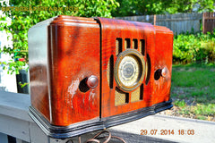 SOLD! - Sept 17, 2015 - BEAUTIFUL Wood Art Deco Retro 1930's or 1940's Western Air Patrol AM Tube Radio Works! Wow! , Vintage Radio - Western Air Patrol, Retro Radio Farm  - 5