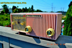 SOLD! - Dec 27, 2014 - PRETTY IN PINK Retro Jetsons 1956 Motorola 57CF Tube AM Clock Radio WORKS! , Vintage Radio - Motorola, Retro Radio Farm  - 2