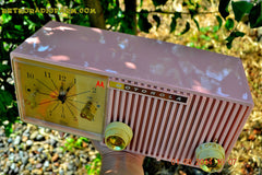 SOLD! - Dec 27, 2014 - PRETTY IN PINK Retro Jetsons 1956 Motorola 57CF Tube AM Clock Radio WORKS! , Vintage Radio - Motorola, Retro Radio Farm  - 8