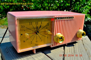 SOLD! - Dec 27, 2014 - PRETTY IN PINK Retro Jetsons 1956 Motorola 57CF Tube AM Clock Radio WORKS! - [product_type} - Motorola - Retro Radio Farm