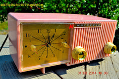 SOLD! - Dec 27, 2014 - PRETTY IN PINK Retro Jetsons 1956 Motorola 57CF Tube AM Clock Radio WORKS! , Vintage Radio - Motorola, Retro Radio Farm  - 6