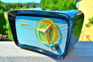SOLD! - Aug 9, 2014 - SO JETSONS LOOKING Retro Vintage AQUA and BLACK Travler T-204 AM Tube Radio WORKS! - [product_type} - Travler - Retro Radio Farm