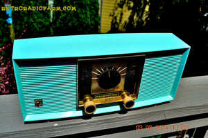 SOLD! - Sept 4, 2014 - RIDICULOUS CLEAN AQUA BLUE Retro Jetsons 1957 Magnavox R5 Tube AM Radio Dual Speaker WORKS! - [product_type} - Magnavox - Retro Radio Farm