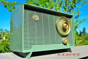 SOLD! - Oct 11, 2014 - OLIVE DRAB Retro Jetsons Vintage 1956 RCA Victor 6-X-5 Tube AM Radio WORKS! , Vintage Radio - RCA Victor, Retro Radio Farm  - 4