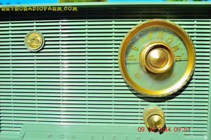 SOLD! - Oct 11, 2014 - OLIVE DRAB Retro Jetsons Vintage 1956 RCA Victor 6-X-5 Tube AM Radio WORKS! , Vintage Radio - RCA Victor, Retro Radio Farm  - 6