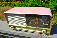 SOLD! - Oct 2, 2014 - POWDER PINK Retro Jetsons 1956 RCA Victor 8-C-7-FE Tube AM Clock Radio WORKS! , Vintage Radio - RCA Victor, Retro Radio Farm  - 2