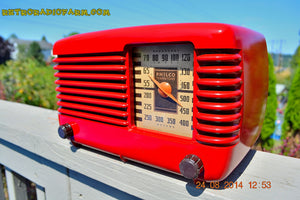 SOLD! - Oct 7, 2014 LIPSTICK RED Vintage Deco Retro 1947 Philco Transitone 46-200 AM Bakelite Tube Radio Works! Wow! , Vintage Radio - Philco, Retro Radio Farm  - 4
