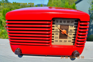 SOLD! - Oct 7, 2014 LIPSTICK RED Vintage Deco Retro 1947 Philco Transitone 46-200 AM Bakelite Tube Radio Works! Wow! , Vintage Radio - Philco, Retro Radio Farm  - 5