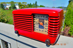 SOLD! - Oct 7, 2014 LIPSTICK RED Vintage Deco Retro 1947 Philco Transitone 46-200 AM Bakelite Tube Radio Works! Wow! , Vintage Radio - Philco, Retro Radio Farm  - 7