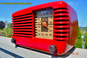 SOLD! - Oct 7, 2014 LIPSTICK RED Vintage Deco Retro 1947 Philco Transitone 46-200 AM Bakelite Tube Radio Works! Wow! , Vintage Radio - Philco, Retro Radio Farm  - 8