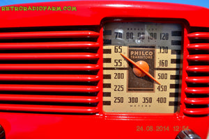 SOLD! - Oct 7, 2014 LIPSTICK RED Vintage Deco Retro 1947 Philco Transitone 46-200 AM Bakelite Tube Radio Works! Wow! , Vintage Radio - Philco, Retro Radio Farm  - 9