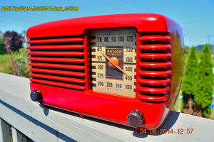 SOLD! - Oct 7, 2014 LIPSTICK RED Vintage Deco Retro 1947 Philco Transitone 46-200 AM Bakelite Tube Radio Works! Wow! - [product_type} - Philco - Retro Radio Farm