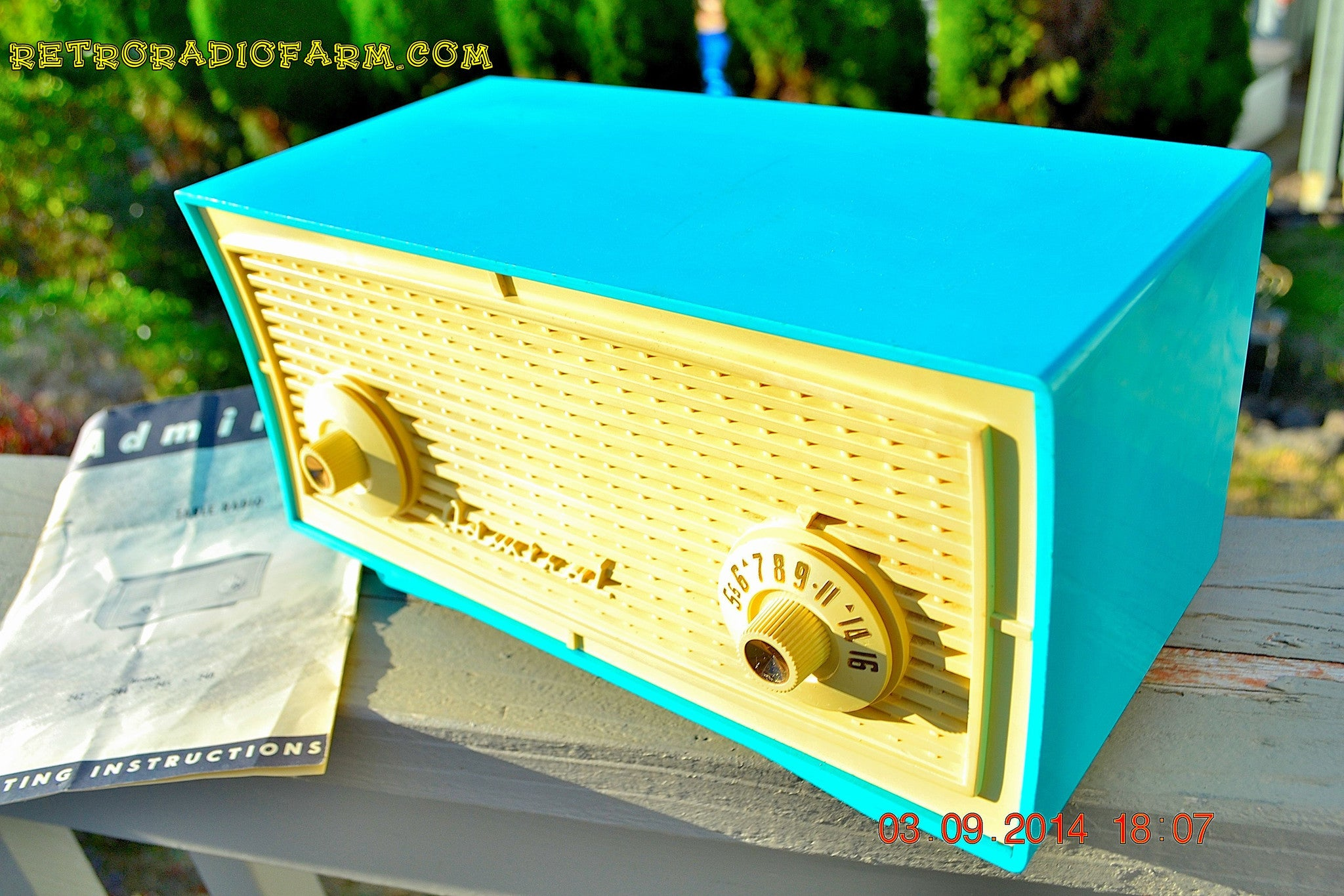 SOLD! - Oct 1, 2014 - SEAFOAM GREEN Retro Jetsons Vintage 1958 Admiral Model 248 AM Tube Radio WORKS! , Vintage Radio - Admiral, Retro Radio Farm  - 1