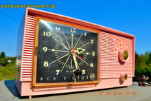 Load image into Gallery viewer, SOLD! - Sept 28, 2014 - BUBBLE GUM Pink Retro 1956 RCA Victor Model 6-C-5 AM Clock Radio Works! , Vintage Radio - RCA Victor, Retro Radio Farm  - 2