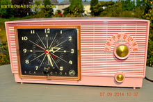 Load image into Gallery viewer, SOLD! - Sept 28, 2014 - BUBBLE GUM Pink Retro 1956 RCA Victor Model 6-C-5 AM Clock Radio Works! , Vintage Radio - RCA Victor, Retro Radio Farm  - 3