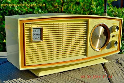 SOLD! - Nov 29, 2014 - AVOCADO and white AM/FM Retro Vintage 1960's Sears Model 2027 Solid State Radio WORKS!