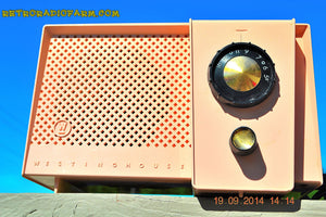 SOLD! - Oct 19, 2014 - CARNATION PINK Retro Jetsons Vintage 1957 Westinghouse H-744T4 AM Tube Radio WORKS! - [product_type} - Westinghouse - Retro Radio Farm