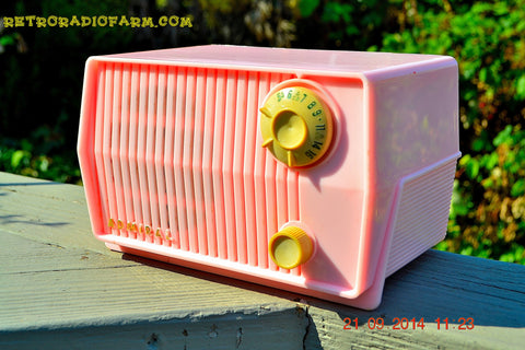 SOLD! - Sept 28, 2014 - BABY GIRL PINK Retro Jetsons Vintage 1959 Admiral 4L2A Tube AM Radio WORKS!