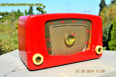 SOLD! - Sept 28, 2014 - CARDINAL RED Retro Vintage 1951 Silvertone Model 5 AM Tube Radio WORKS! - [product_type} - Silvertone - Retro Radio Farm