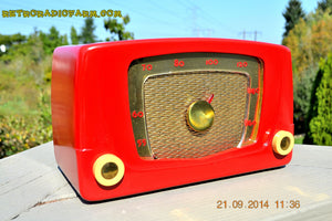 SOLD! - Sept 28, 2014 - CARDINAL RED Retro Vintage 1951 Silvertone Model 5 AM Tube Radio WORKS! , Vintage Radio - Silvertone, Retro Radio Farm  - 1