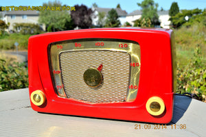 SOLD! - Sept 28, 2014 - CARDINAL RED Retro Vintage 1951 Silvertone Model 5 AM Tube Radio WORKS! , Vintage Radio - Silvertone, Retro Radio Farm  - 2