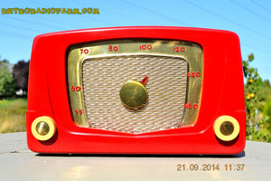 SOLD! - Sept 28, 2014 - CARDINAL RED Retro Vintage 1951 Silvertone Model 5 AM Tube Radio WORKS! , Vintage Radio - Silvertone, Retro Radio Farm  - 4