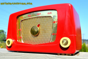 SOLD! - Sept 28, 2014 - CARDINAL RED Retro Vintage 1951 Silvertone Model 5 AM Tube Radio WORKS! , Vintage Radio - Silvertone, Retro Radio Farm  - 7