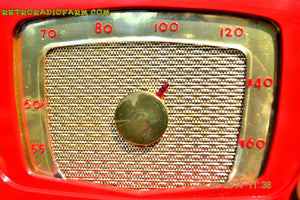 SOLD! - Sept 28, 2014 - CARDINAL RED Retro Vintage 1951 Silvertone Model 5 AM Tube Radio WORKS! , Vintage Radio - Silvertone, Retro Radio Farm  - 8