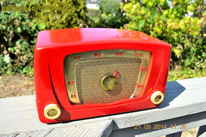 SOLD! - Sept 28, 2014 - CARDINAL RED Retro Vintage 1951 Silvertone Model 5 AM Tube Radio WORKS! , Vintage Radio - Silvertone, Retro Radio Farm  - 5