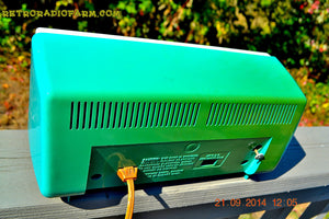 SOLD! - Dec 9, 2014 - SEAFOAM Green Turquoise Retro Jetsons Vintage 1956 Truetone DC-2083 AM Tube Clock Radio WORKS! - [product_type} - Truetone - Retro Radio Farm