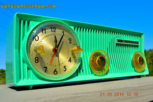 SOLD! - Oct 12, 2014 - SEA GREEN Retro Jetsons 1957 Motorola 57CS Tube AM Clock Radio Works! Quiet Clock! - [product_type} - Motorola - Retro Radio Farm