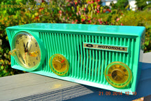 Load image into Gallery viewer, SOLD! - Oct 12, 2014 - SEA GREEN Retro Jetsons 1957 Motorola 57CS Tube AM Clock Radio Works! Quiet Clock! - [product_type} - Motorola - Retro Radio Farm