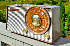 SOLD! - Oct. 22, 2014 - FAUX WOOD GRAIN DIAL! Retro Jetsons Vintage 1963 Motorola T25BN AM Tube Radio WORKS! , Vintage Radio - Motorola, Retro Radio Farm  - 3
