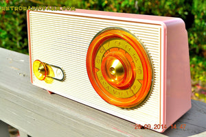 SOLD! - Sept 30, 2014 - POWDER PINK Retro Jetsons Vintage 1958 RCA 1-RA-43 AM Tube Radio WORKS! - [product_type} - RCA Victor - Retro Radio Farm