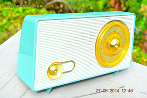 SOLD! - Sept 28, 2014 - OCEAN TURQUOISE Retro Jetsons Vintage 1958 RCA 1-RA-45 AM Tube Radio WORKS! - [product_type} - RCA Victor - Retro Radio Farm