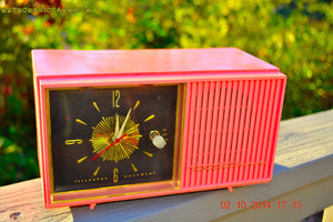 SOLD! - Jan 9, 2015 - HOT PINK Retro Jetsons Vintage 1957 Truetone Western Auto Supply Model DC2852 AM Tube Clock Radio - [product_type} - Truetone - Retro Radio Farm