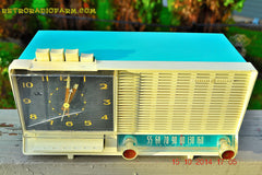SOLD! - Dec 4, 2014 - AQUA and White Retro Jetsons Vintage 1958 General Electric C-451B AM Tube Clock Radio WORKS! , Vintage Radio - General Electric, Retro Radio Farm  - 3