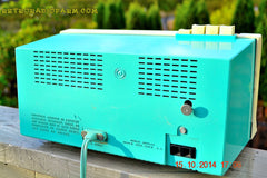 SOLD! - Dec 4, 2014 - AQUA and White Retro Jetsons Vintage 1958 General Electric C-451B AM Tube Clock Radio WORKS! , Vintage Radio - General Electric, Retro Radio Farm  - 10
