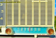 Load image into Gallery viewer, SOLD! - Dec 4, 2014 - AQUA and White Retro Jetsons Vintage 1958 General Electric C-451B AM Tube Clock Radio WORKS! - [product_type} - General Electric - Retro Radio Farm