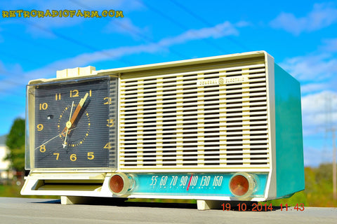 SOLD! - Dec 4, 2014 - AQUA and White Retro Jetsons Vintage 1958 General Electric C-451B AM Tube Clock Radio WORKS!
