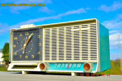 SOLD! - Dec 4, 2014 - AQUA and White Retro Jetsons Vintage 1958 General Electric C-451B AM Tube Clock Radio WORKS! , Vintage Radio - General Electric, Retro Radio Farm  - 1