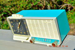 SOLD! - Dec 4, 2014 - AQUA and White Retro Jetsons Vintage 1958 General Electric C-451B AM Tube Clock Radio WORKS! , Vintage Radio - General Electric, Retro Radio Farm  - 2
