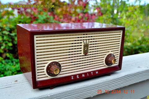 SOLD! - Dec 30, 2014 - BURGUNDY Retro Jetsons Vintage 1957 Zenith B508R AM Tube Radio WORKS!