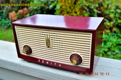 SOLD! - Dec 30, 2014 - BURGUNDY CABERNET Retro Jetsons Vintage 1957 Zenith B508R AM Tube Radio WORKS! , Vintage Radio - Zenith, Retro Radio Farm  - 2