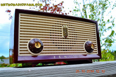 SOLD! - Dec 30, 2014 - BURGUNDY CABERNET Retro Jetsons Vintage 1957 Zenith B508R AM Tube Radio WORKS! , Vintage Radio - Zenith, Retro Radio Farm  - 5