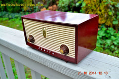 SOLD! - Dec 30, 2014 - BURGUNDY CABERNET Retro Jetsons Vintage 1957 Zenith B508R AM Tube Radio WORKS! , Vintage Radio - Zenith, Retro Radio Farm  - 4