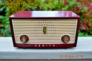 SOLD! - Dec 30, 2014 - BURGUNDY Retro Jetsons Vintage 1957 Zenith B508R AM Tube Radio WORKS! - [product_type} - Zenith - Retro Radio Farm